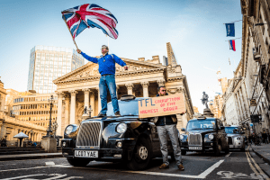 Cab drivers have protested their ban from Bank Junction. Photo: Jon Cox