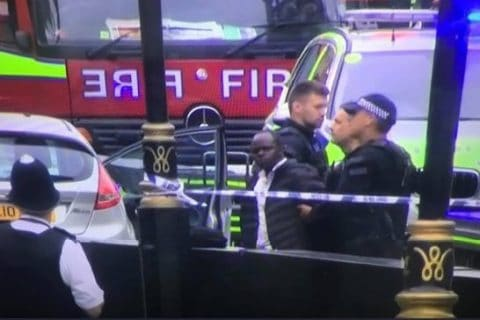 The Westminster terror attack suspect is led away by officers Credit: Sky News
