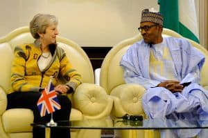 Prime Minister Theresa May met with President Buhari to discuss UK financing of African economies. Photo 10 Downing Street / Twitter