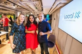 Alexandra Galviz (centre) at the launch of LocalX